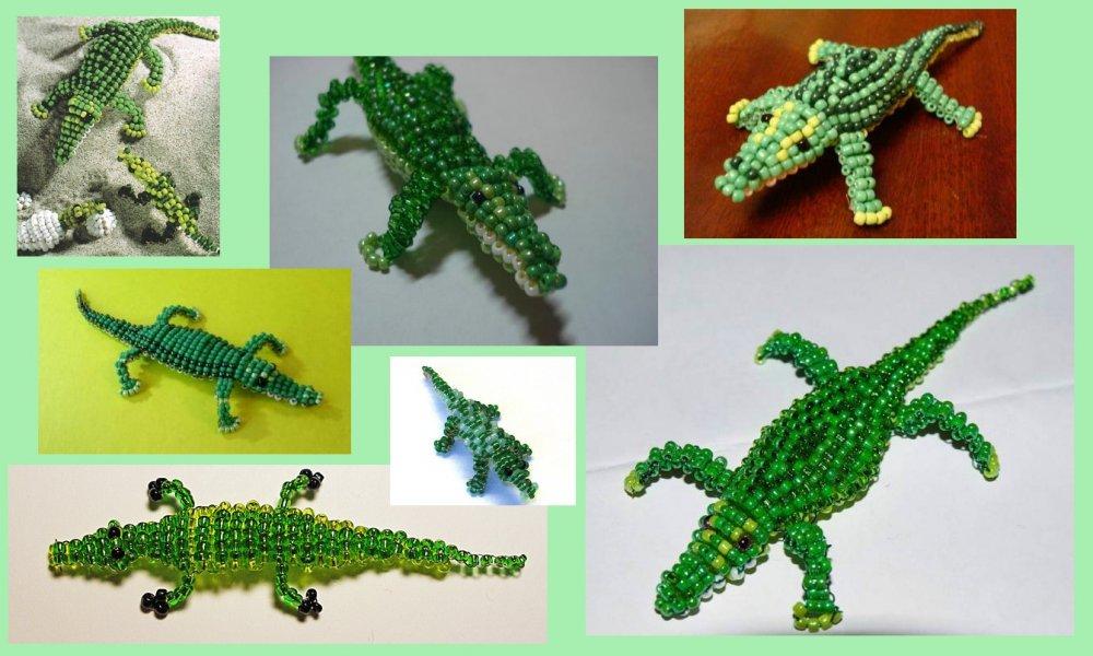 Крокодил из бисера в технике параллельного плетения