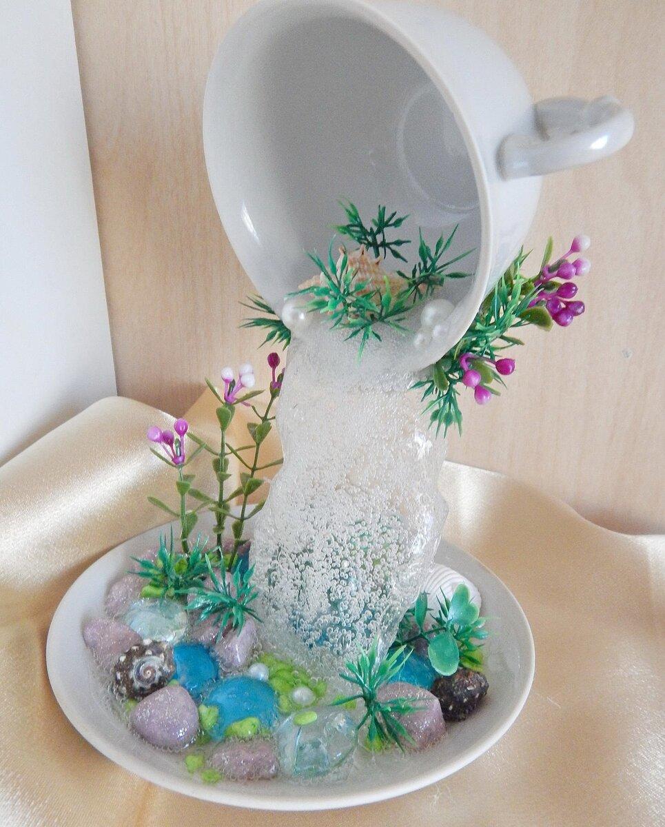 Мой водопад из кружки и блюдца. парящая чашка - денежный водопад как сделать водопад из кружки