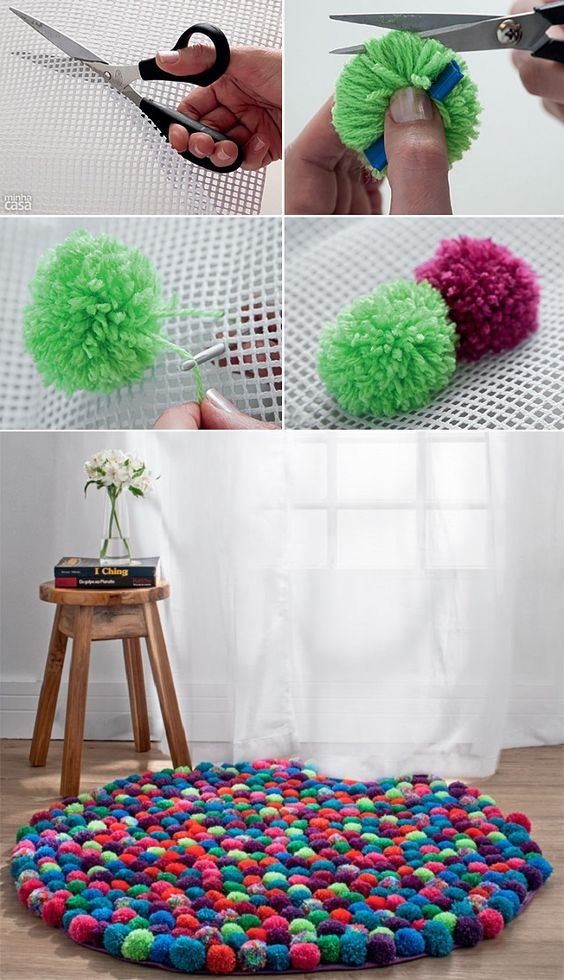 Коврик из помпонов сколько нужно пряжи. как сделать коврик из помпонов своими руками