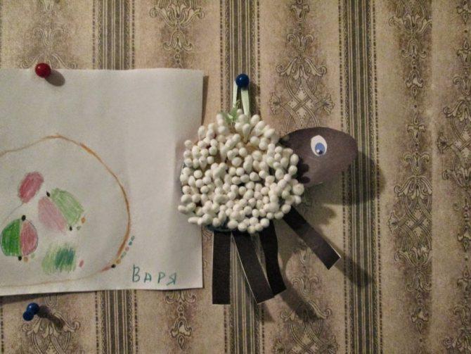 Поделки из ватных дисков, ватных палочек и бумаги для детей 3-9 лет, фото изговтоления пошагово