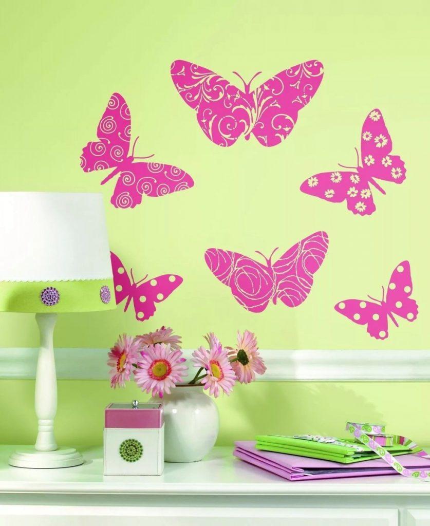 Бабочки для декора интерьера, идеи украшения стен и потолка, наклейки, 3d бабочки и мотыльки из бумаги