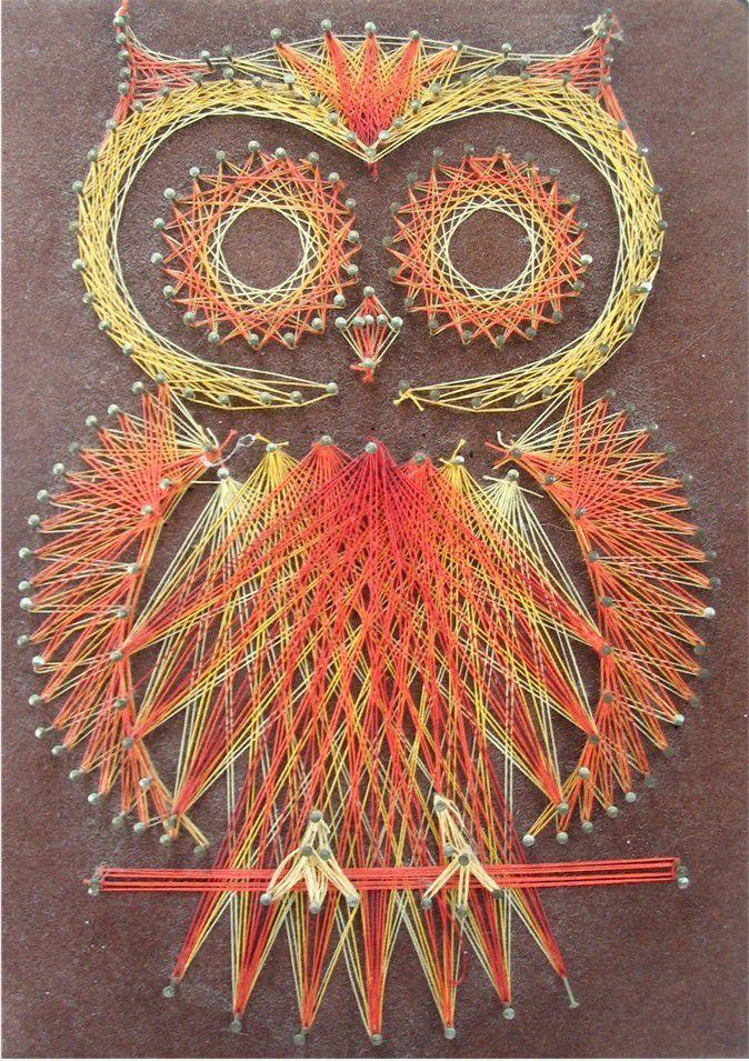 Уникальное панно из ниток и гвоздей: string art своими руками
