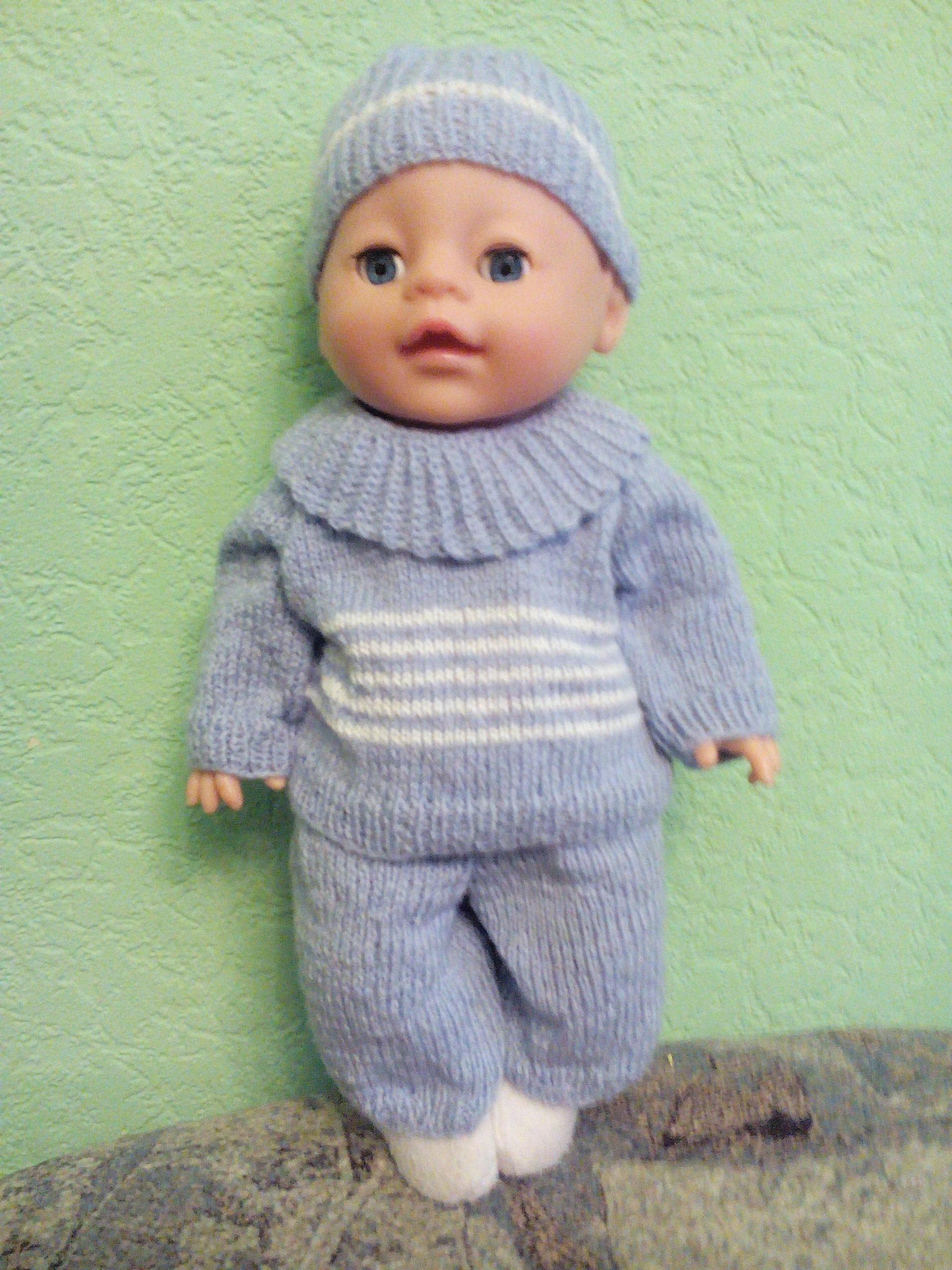 Описание вязания спицами костюма для пупса - гардероб для куклы - страна мам