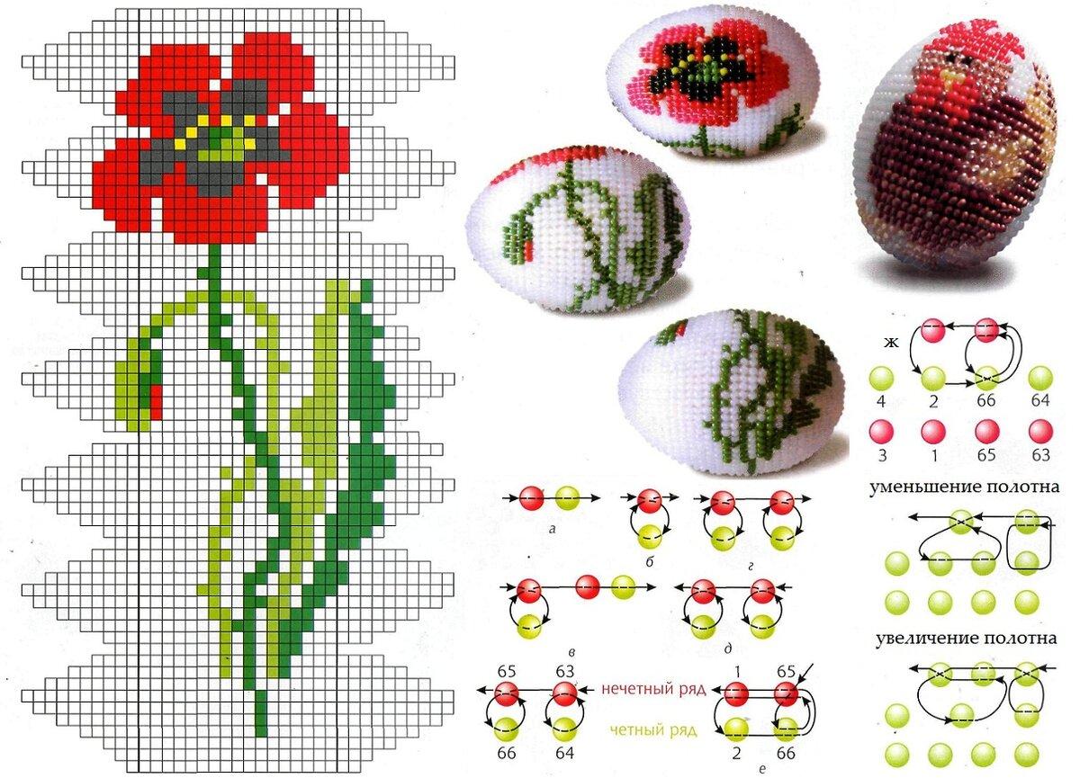 Пасхальные яйца из бисера! схемы плетения для начинающих!