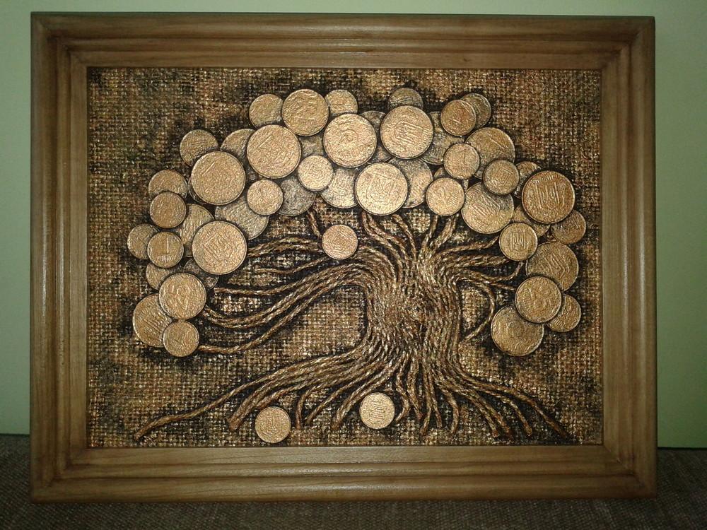 Картина панно рисунок мастер-класс аппликация аппликация из скрученных жгутиков денежное дерево мк материал бросовый монета