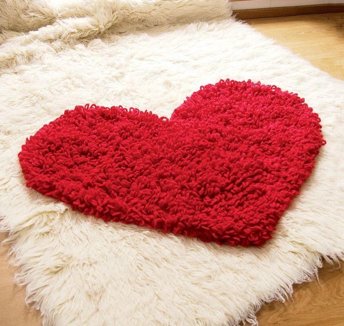 ᐉ вязаный коврик в виде сердца - своими руками -