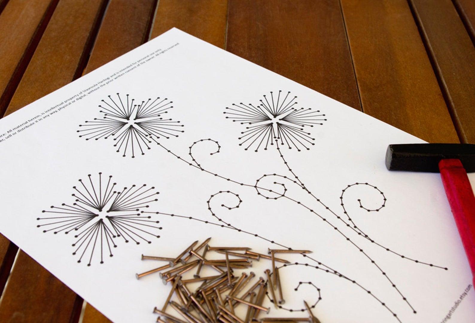 Стринг-арт: мастер-классы для начинающих, эскизы и схемы на фото