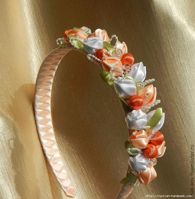 Толстый ободок из атласных лент своими руками. делаем своими руками ободки, повязки и венок с цветами. украшение канзаши для ободка