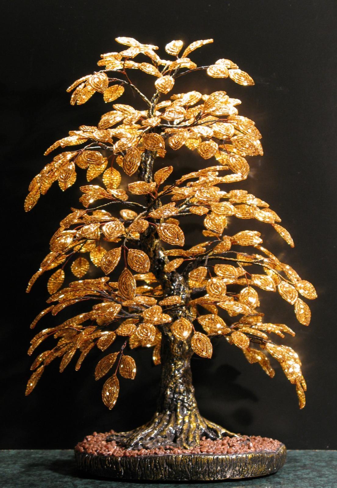 Плетем деревья из бисера. поделки из бисера.