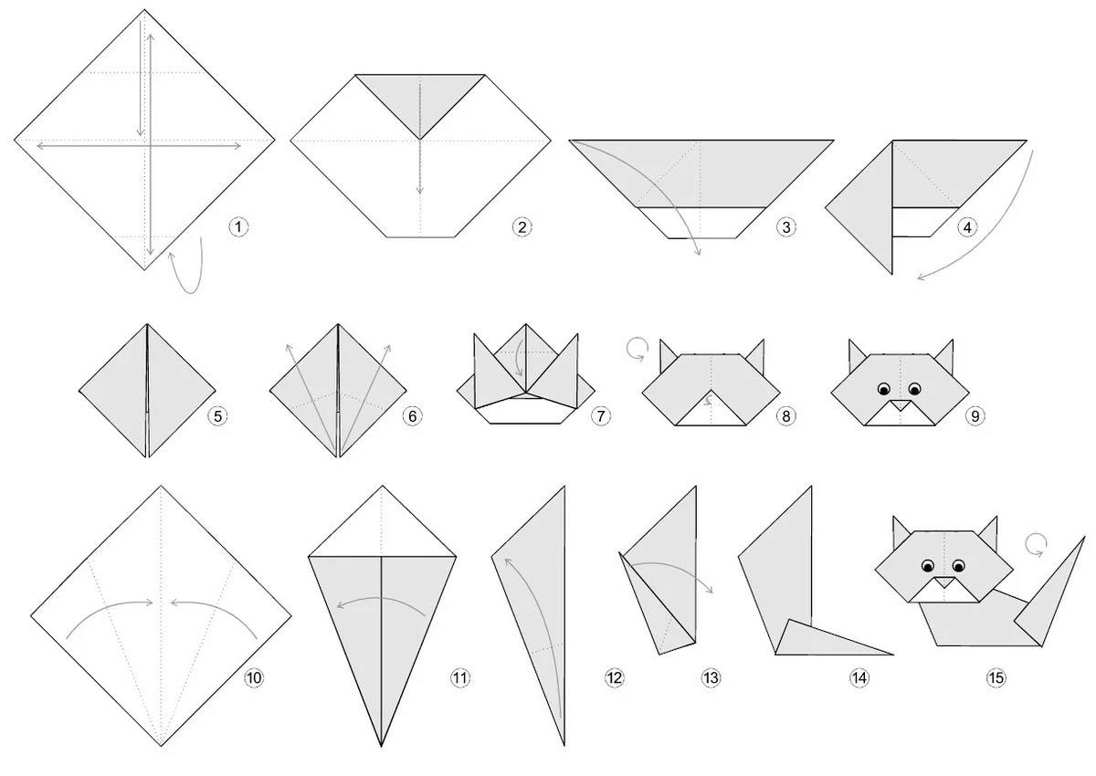 Как сделать из бумаги кошку оригами: пошаговый мастер класс сборки объемных поделок