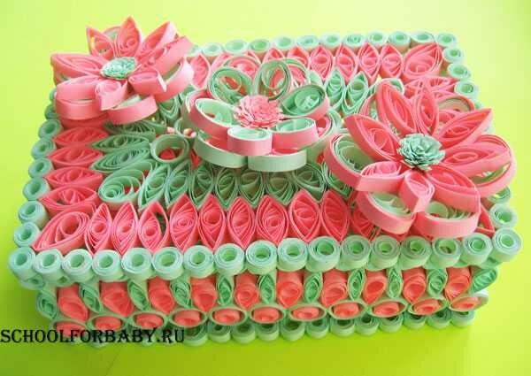Поделка изделие 8 марта валентинов день день матери день рождения квиллинг шкатулка в технике квиллинг + мк бумага