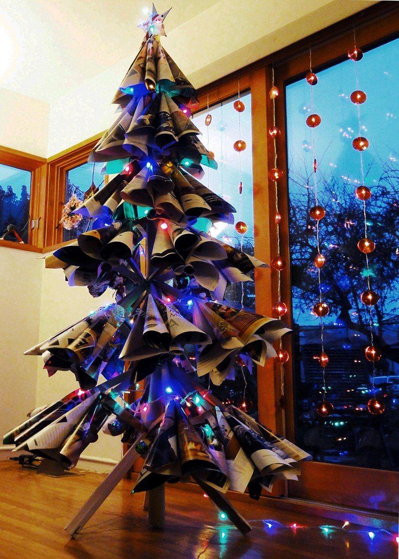 Новогодние елки своими руками: креативные из разных материалов
