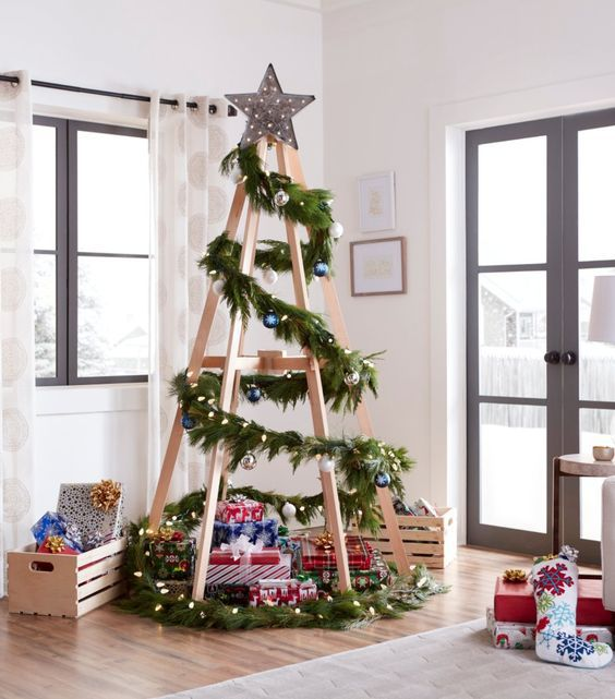 Альтернативные елки на стену своими руками. альтернативная новогодняя елка