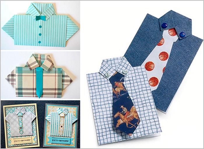 Оригами из денег: рубашка с галстуком и цветы со схемой и видео