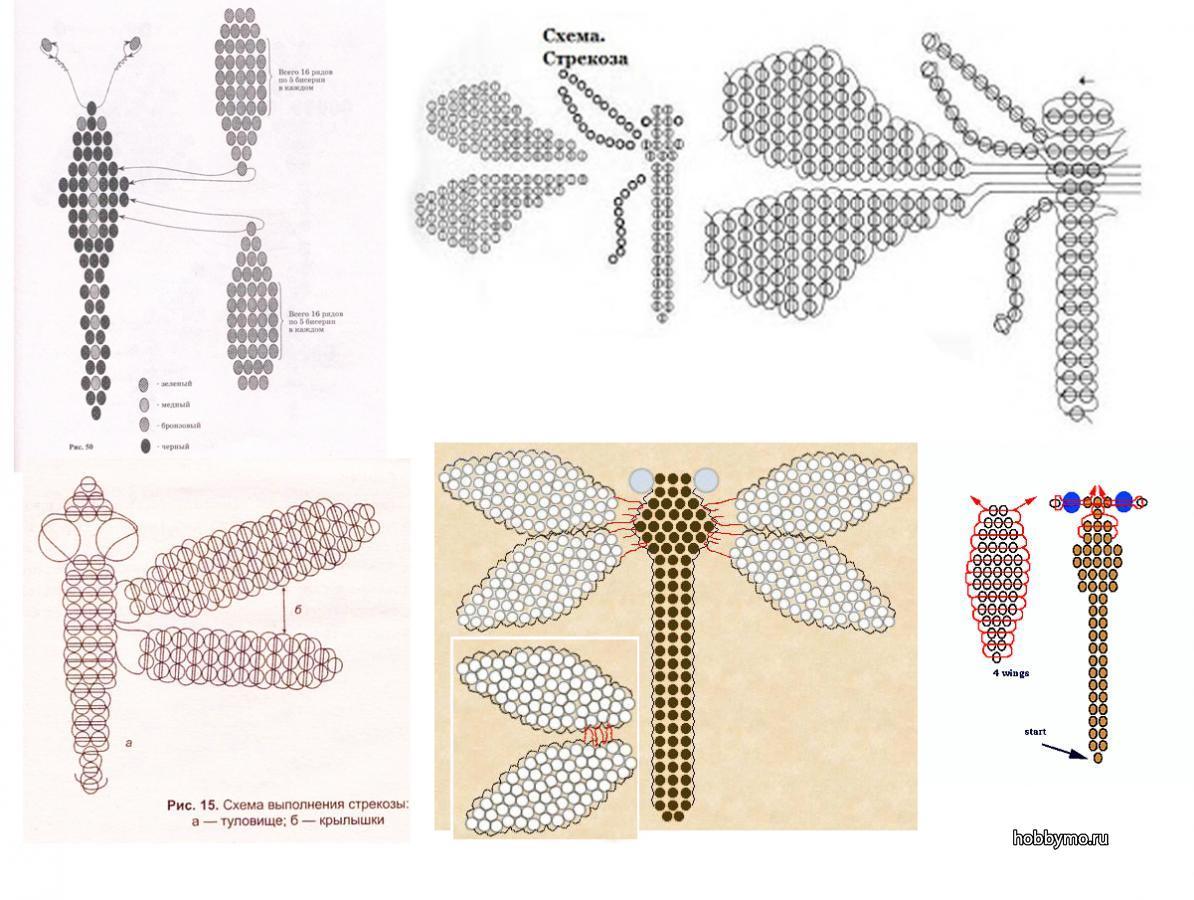 Стрекоза из бисера: мастер-класс с фото и схема плетения