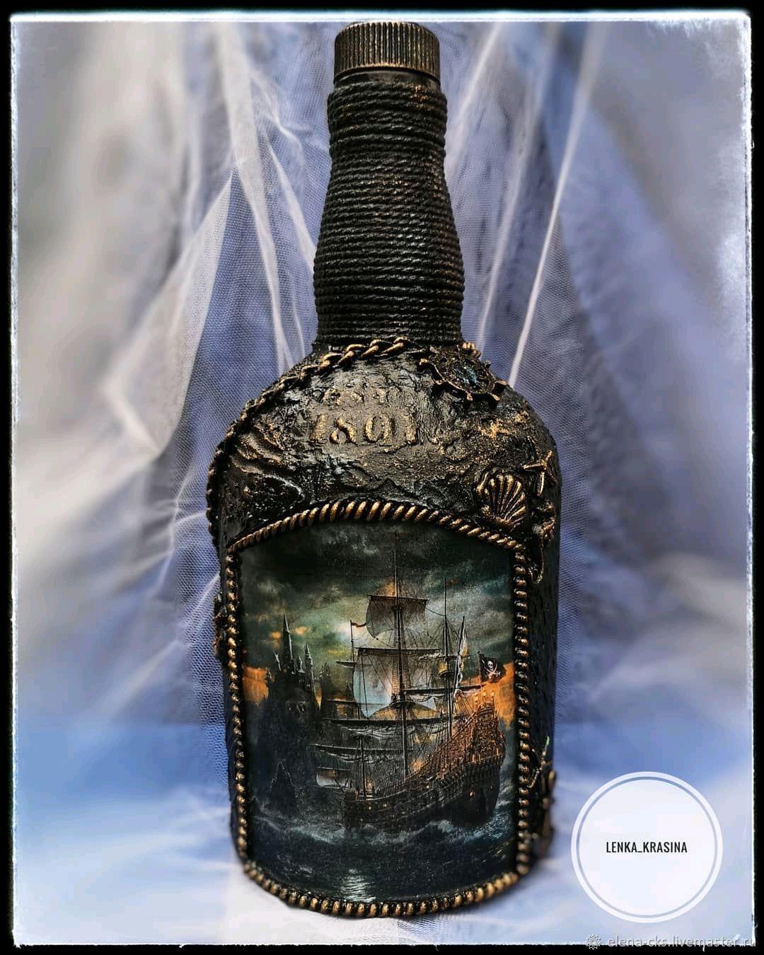 Декоративная бутылка «воспоминания о море. морская бутылка клуб декоративного творчества декор бутылок морская тема