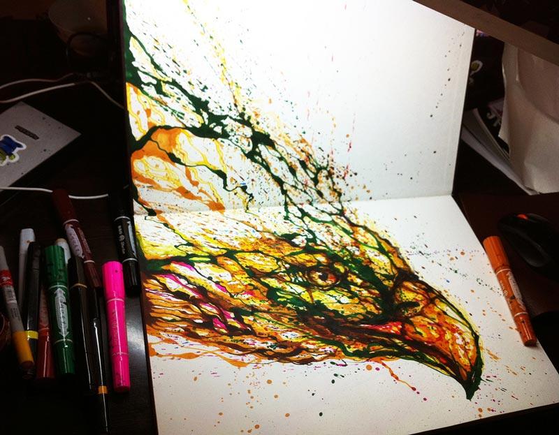 Картина «Подсолнухи» в технике ниткография