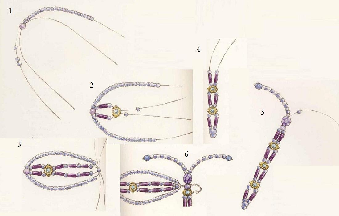 Схема плетения стрекозы из бисера для начинающих