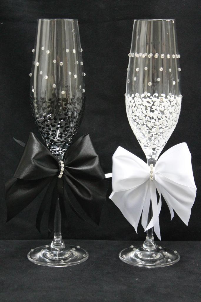 Красивые и оригинальные бокалы своими руками на свадьбу для жениха и невесты