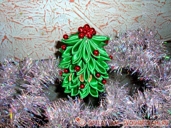 Как делать елку из лент. новогодняя елочка из атласной ленты и бусин