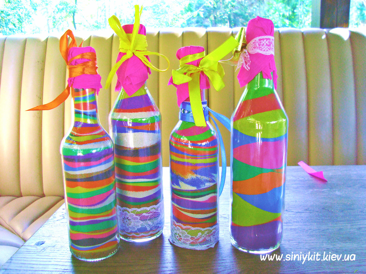 Декоративные бутылки с солью: оформление своими руками