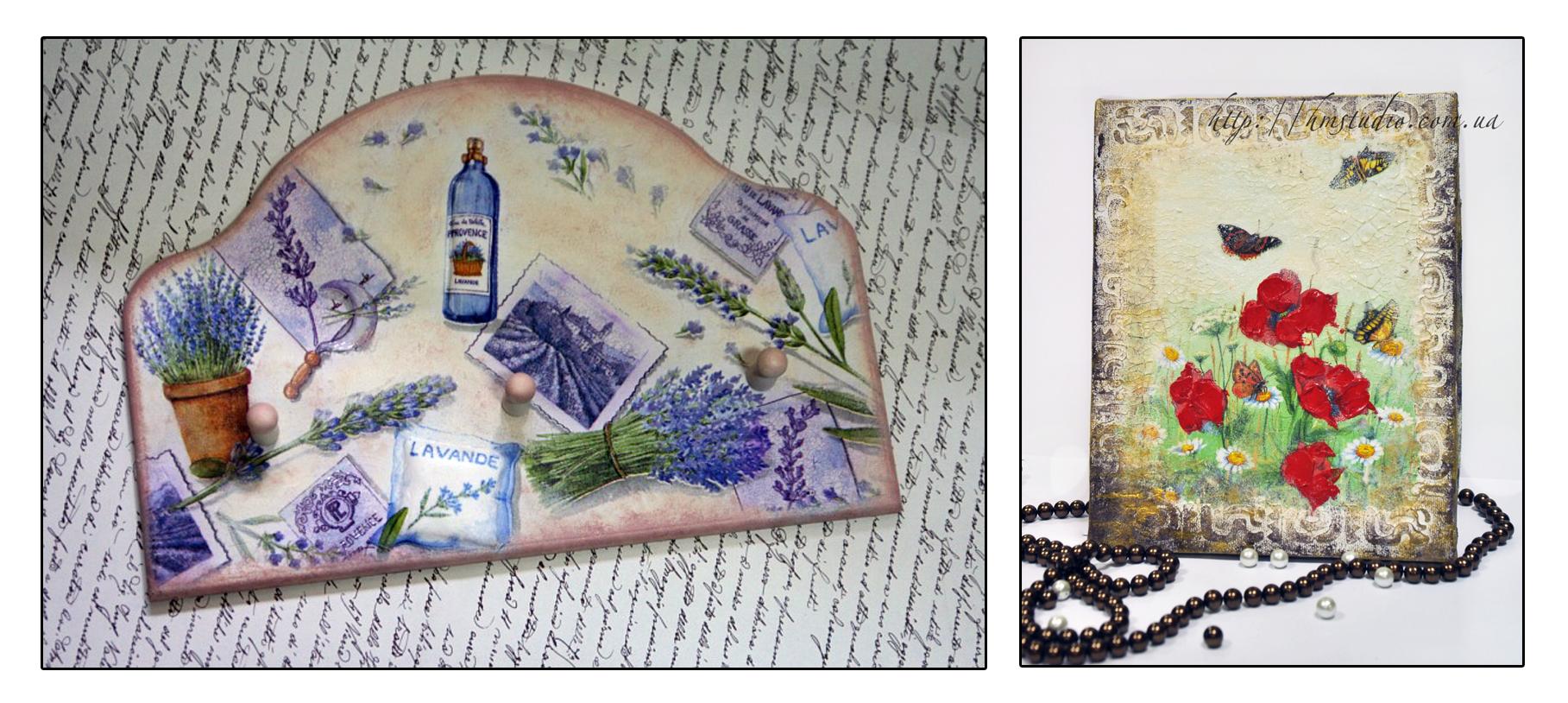 Декупаж картины из открытки и салфеток