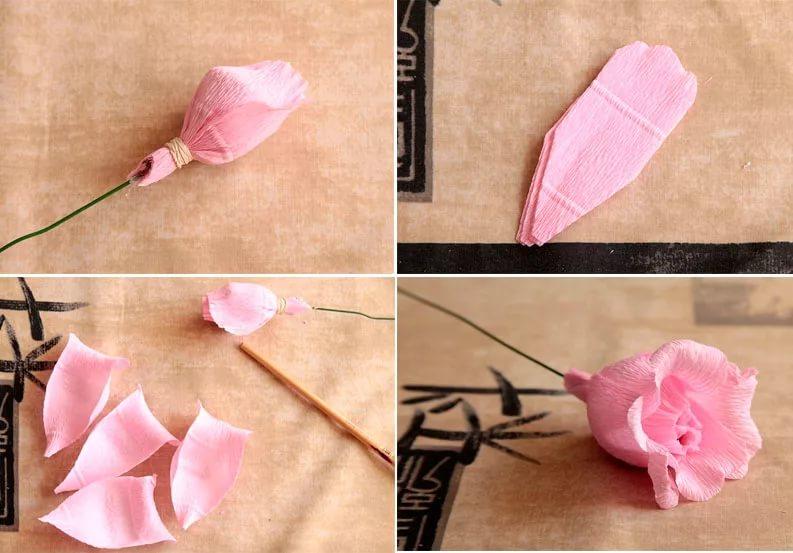 Бутон розы из гофрированной бумаги: мастер класс своими руками