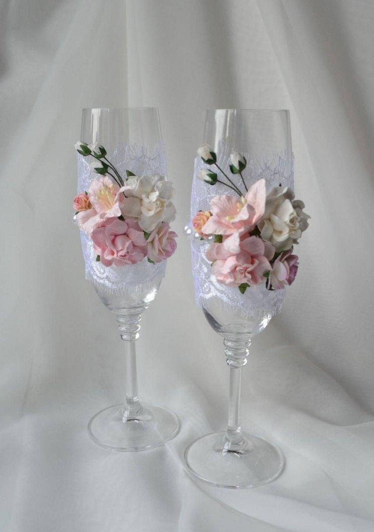 Бокалы на свадьбу своими руками ? украшение фужеров, оформление шампанского, идеи, мастер класс