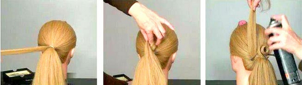 """Причёска """"роза"""" из волос"""