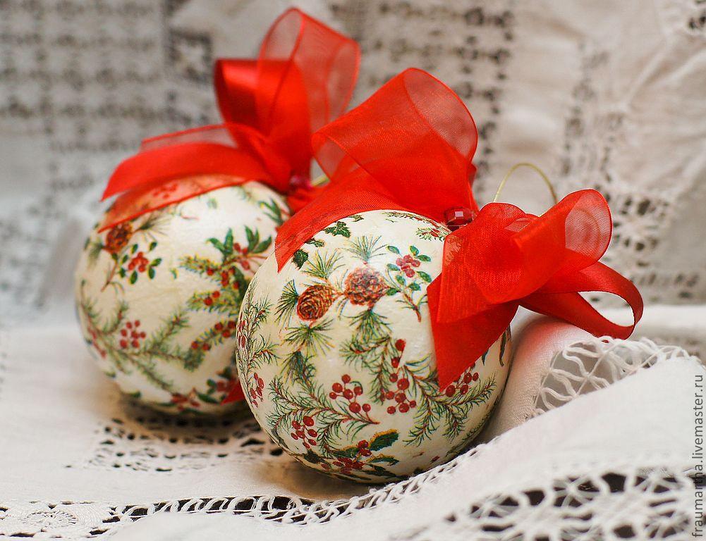 Елочные украшения своими руками — декупаж новогодних игрушек