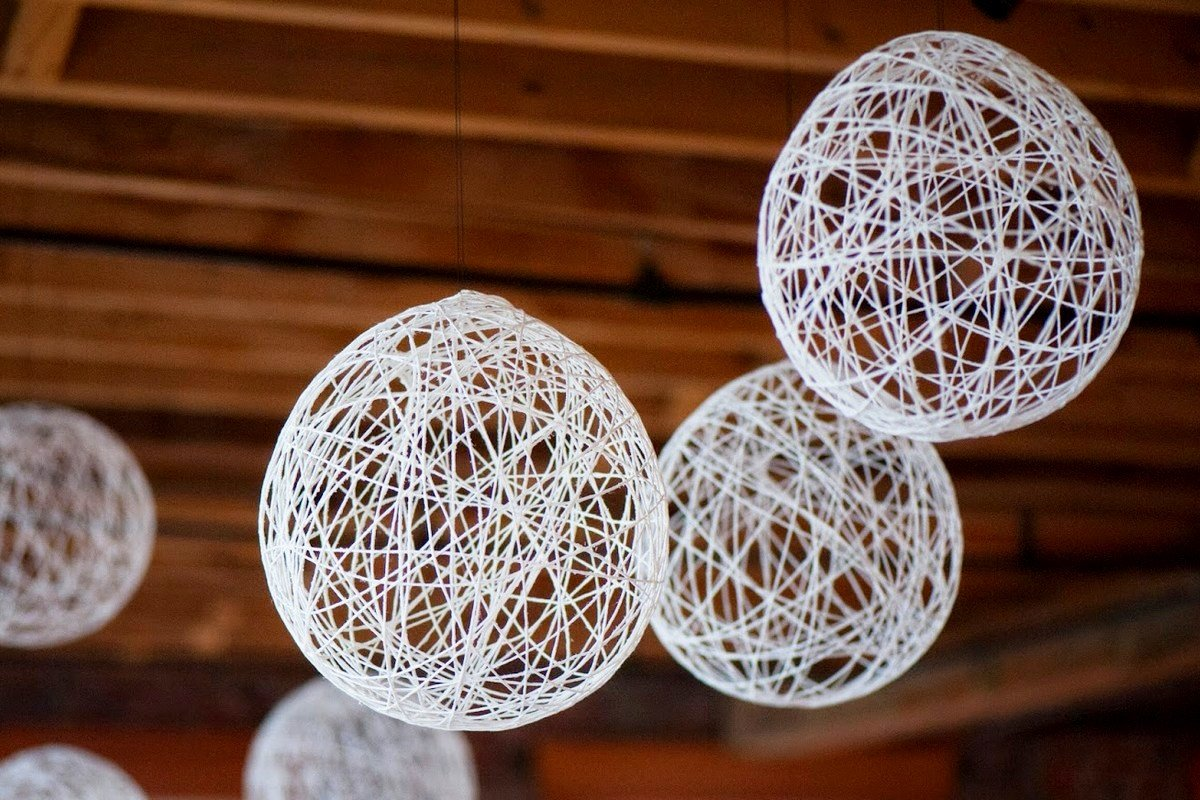 Интерьер мастер-класс оригинальная люстра из ниток своими руками нитки
