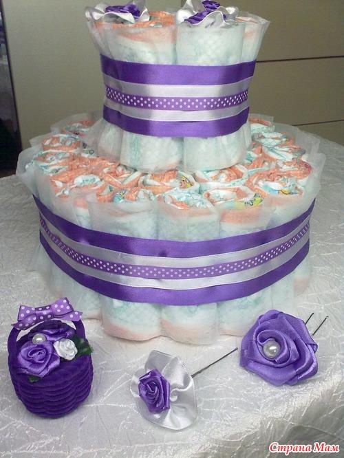 Торт из памперсов в подарок своими руками - пошаговая инструкция с фото