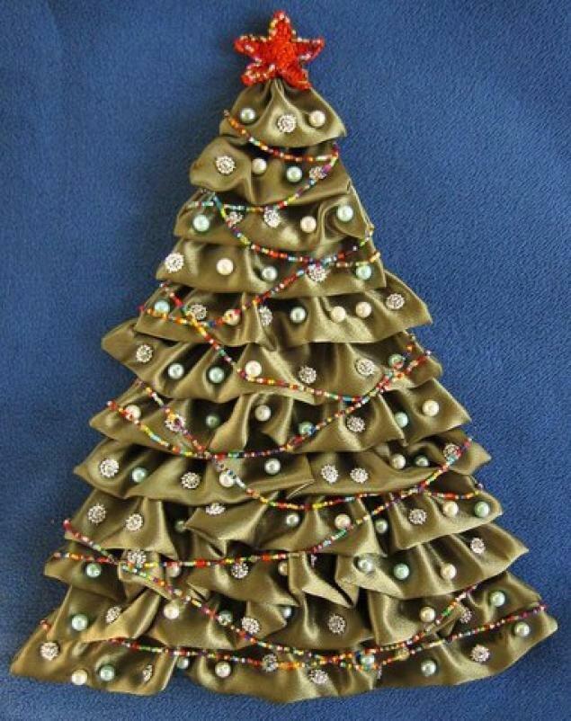 Мастер-класс поделка изделие новый год цумами канзаши мк ёлочки из атласных лент ленты
