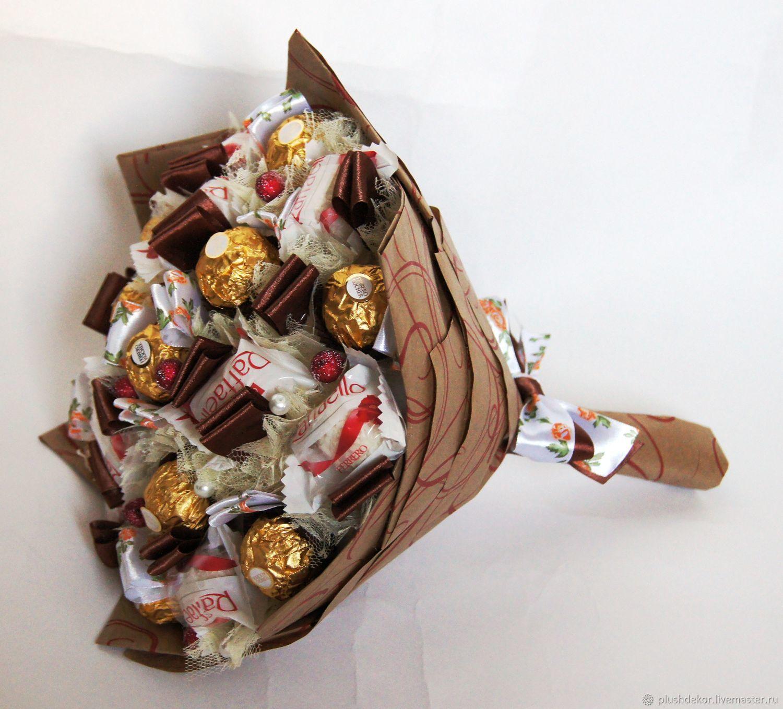 Необычные подарки своими руками - букет из чая, кофе и конфет.