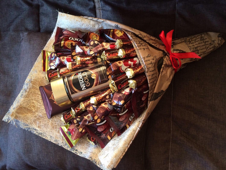 Поделка букет из шоколадок ? своими руками пошагово
