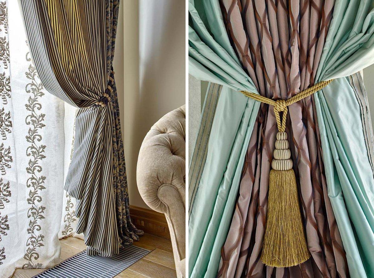 Аксессуары для штор (49 фото): заколки и украшения, клипсы для занавесок и декор