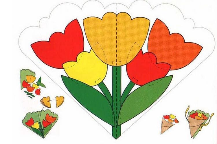 Открытка на 8 марта своими руками из бумаги и картона (шаблоны), открытки из бумажных салфеток с 8 марта в детский сад и 1 класс
