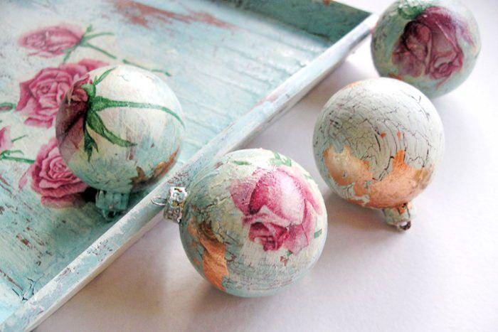 Новогодние шары ручной работы декупаж. елочно-праздничный декупаж новогоднего шара