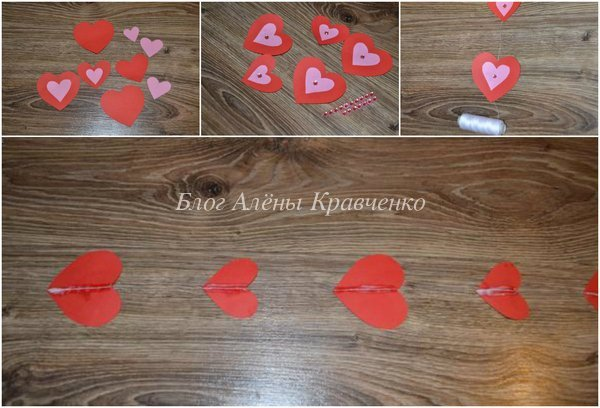 Как сделать гирлянду в виде сердечек и не только (10 мастер-классов)