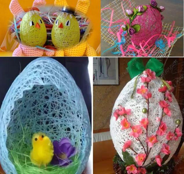 Мастер-класс поделка изделие пасха моделирование конструирование шитьё пасхальное яйцо из ниток в детсад вата клей нитки фетр
