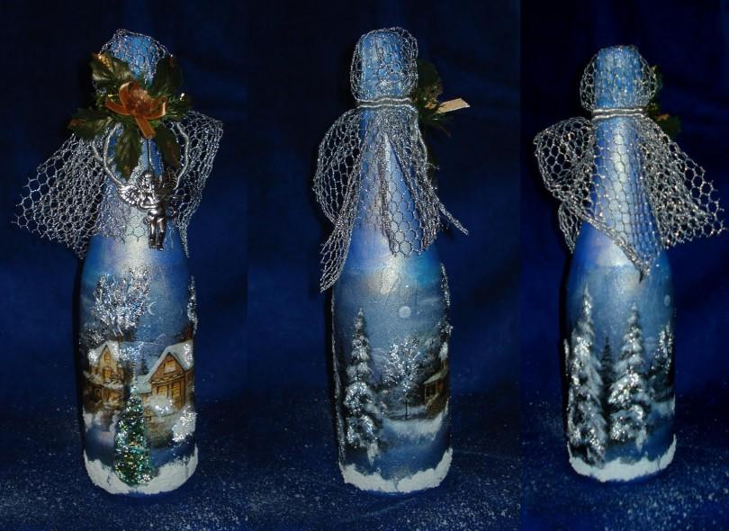 Декупаж бутылок: мастер-класс по изготовлению украшения (110 фото)