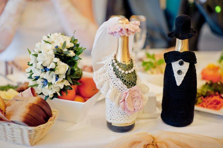 Декор свадебных бутылок своими руками