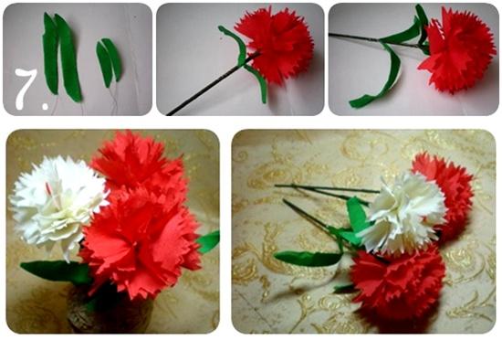 Простые схемы как сделать цветы гвоздики из бумаги