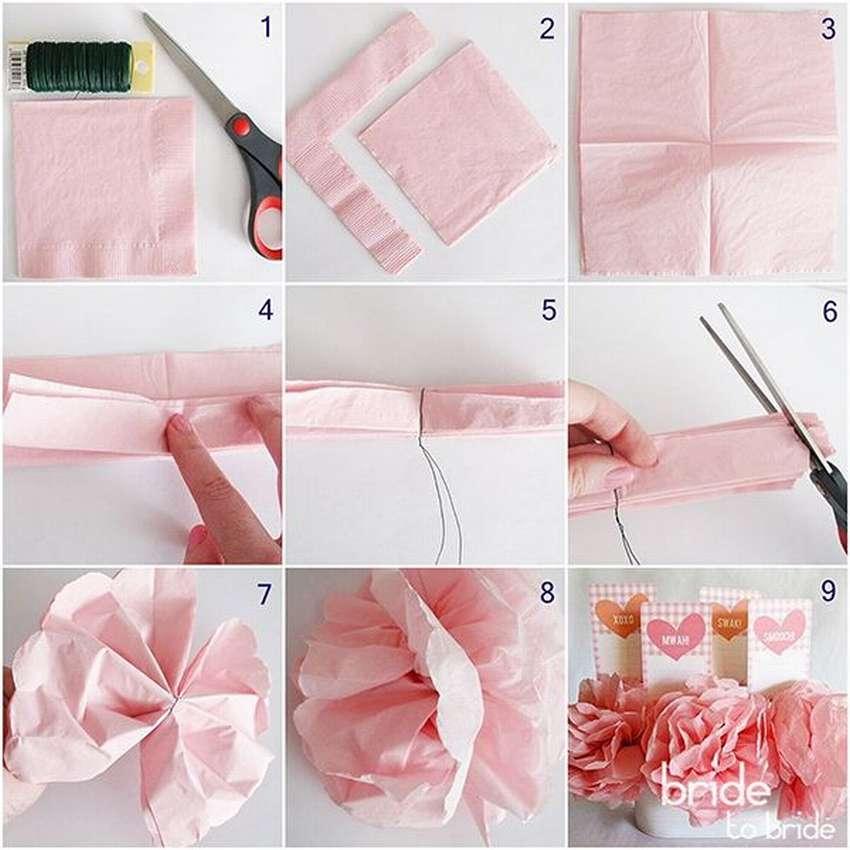 Как сделать цветок из салфетки своими руками поэтапно. фото для начинающих