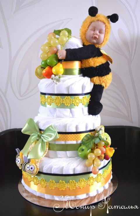 Торт из памперсов своими руками: 5 вариантов, 70 фото как сделать торт из подгузников