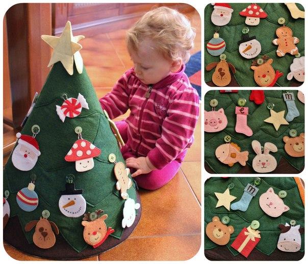 Елка из фетра на стену для ребенка: потрясающий новогодний декор. | красивый дом и сад