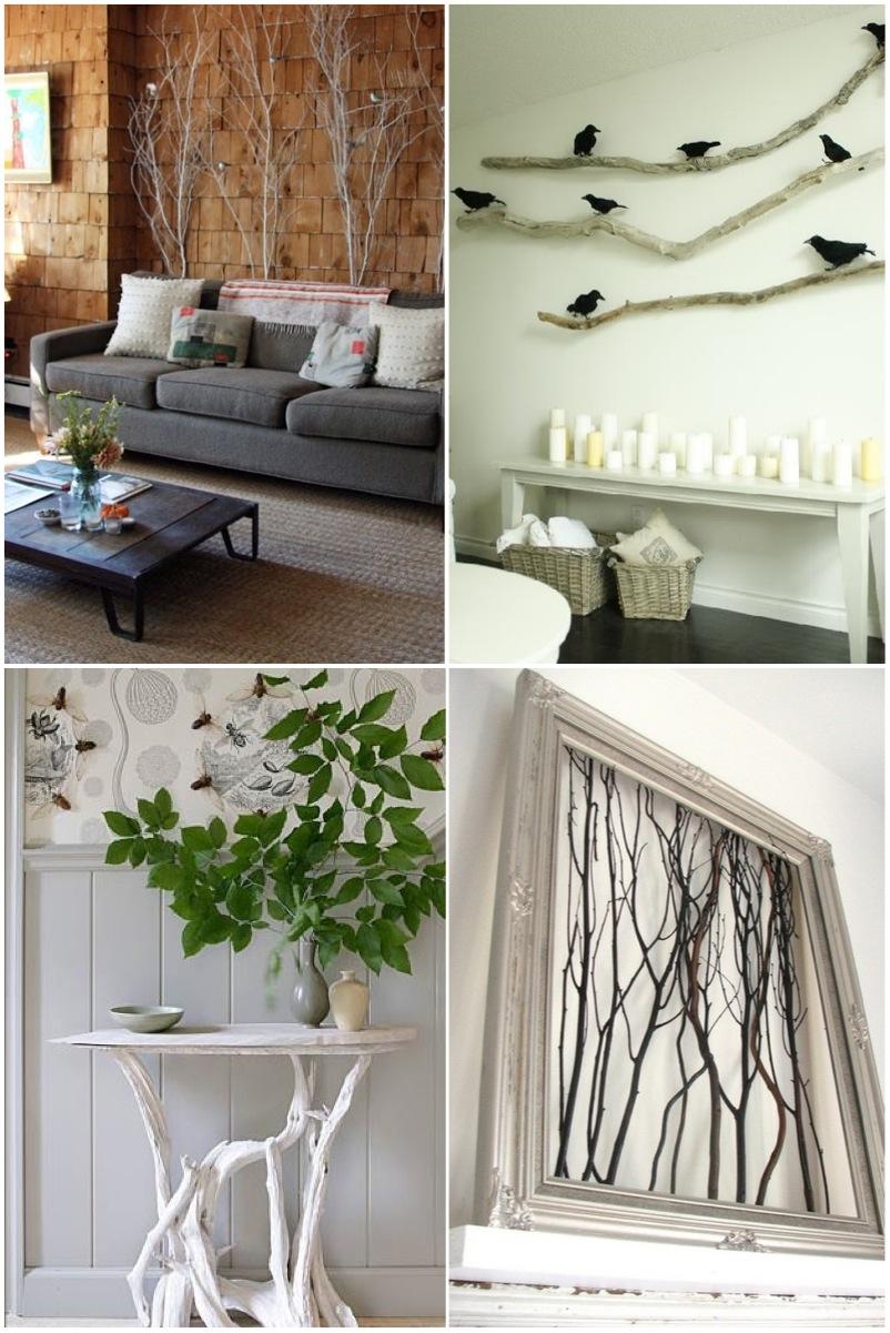 Оформление угла комнаты веткой дерева