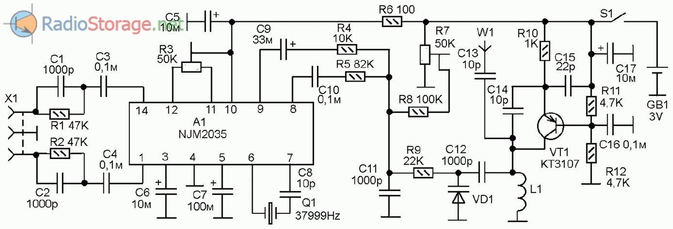 Схема радиопередатчика, рации, радиомикрофона и другое в данном разделе