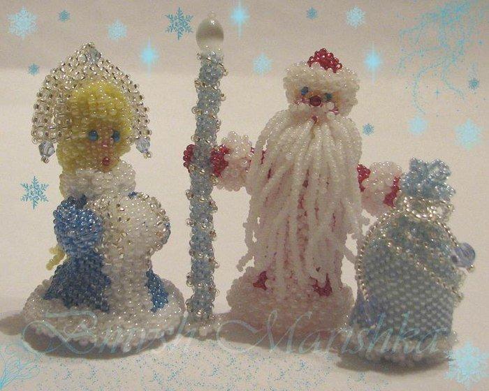 Снежинка из бисера, схема плетения своими руками