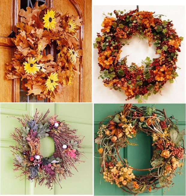 Осенний венок своими руками из природных материалов - 30 фото